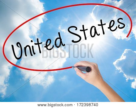 Woman Hand Writing United States With Black Marker On Visual Screen