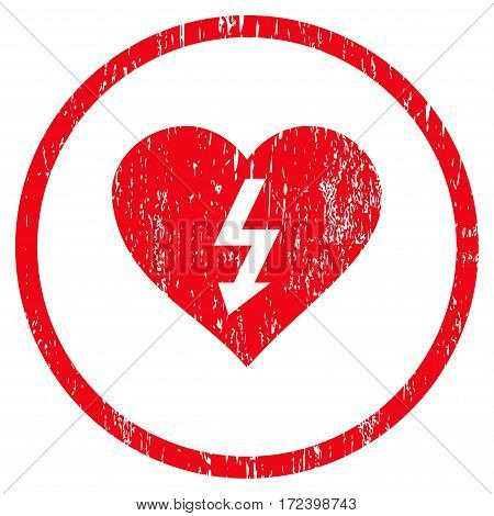 Power Love Heart grainy textured icon for overlay watermark stamps. Rounded flat vector symbol with unclean texture. Circled red ink rubber seal stamp with grunge design on a white background.
