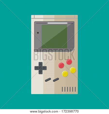 Old retro game hand console gadget. Handheld. Vector illustration in flat design