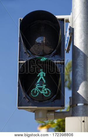 Closeup of a pedestrian light on green in Munich