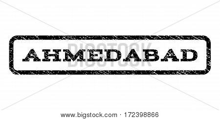 Ahmedabad watermark stamp. Text caption inside rounded rectangle frame with grunge design style. Rubber seal stamp with unclean texture. Vector black ink imprint on a white background.