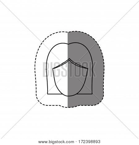 monochrome contour sticker with head of woman without face vector illustration