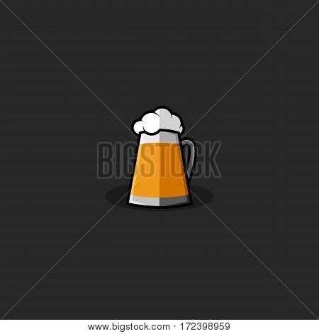 Glass of beer logo, mug lager of cold yellow drink with white fluffy foam emblem mockup for the brewery or beer pub menu