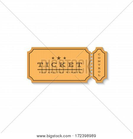 Paper ticket mockup logo. Cardboard coupon for the entrance to the cinema or for some entertaining action, and can be used for promotions or to determine the winner of the buyer. Isolated on white background