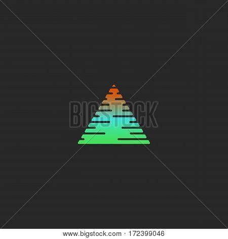 Triangle logo gradient abstract geometric shape, spectrum soft colors smooth contour, creative identity emblem mockup