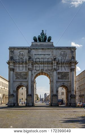 The Siegestor (Victory Gate) in Munich is a three-arched triumphal arch crowned with a statue of Bavaria with a lion-quadriga
