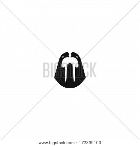Sea walrus logo mockup, marine mammal head with tusks front view mascot, animal emblem, white and black logotype layout style negative space