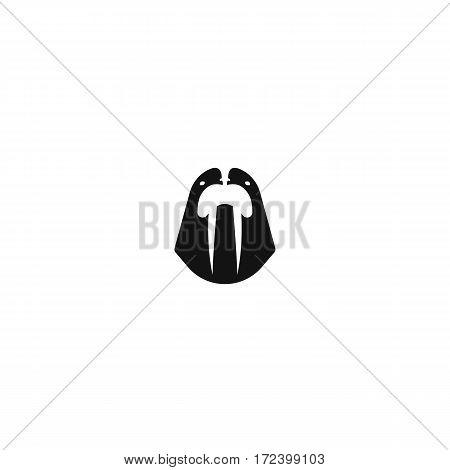 Sea walrus logo mockup, marine mammal head with tusks front view mascot, animal emblem, white and black logotype layout style negative space