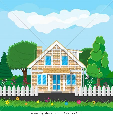 Private suburban house with fence, trees, sky and clouds. Vector illustration in flat style
