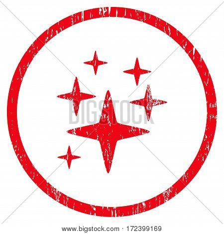 Sparkle Stars grainy textured icon for overlay watermark stamps. Rounded flat vector symbol with unclean texture. Circled red ink rubber seal stamp with grunge design on a white background.