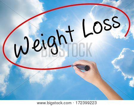 Woman Hand Writing Weight Loss With Black Marker On Visual Screen