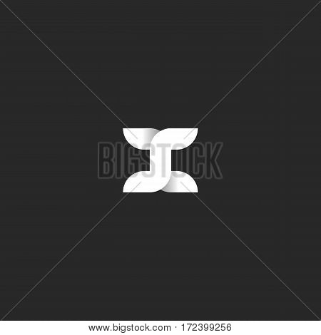 X letter logo intersection of bolder line widths overlay shadows, white-black gradient mockup design element for typography, for the initial emblem