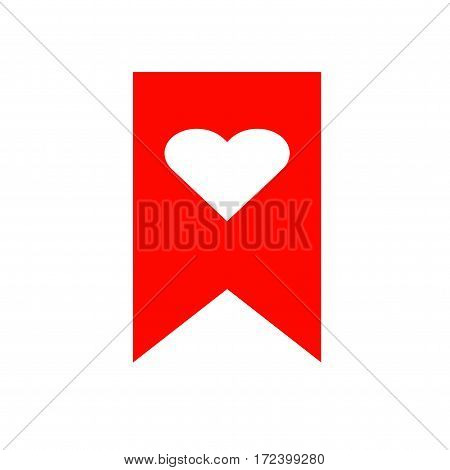 Heart bookmark icon. Isolated vector on white background.