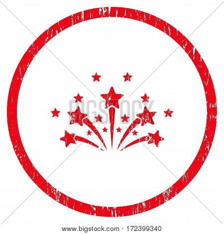 Star Fireworks grainy textured icon for overlay watermark stamps. Rounded flat vector symbol with dirty texture. Circled red ink rubber seal stamp with grunge design on a white background.