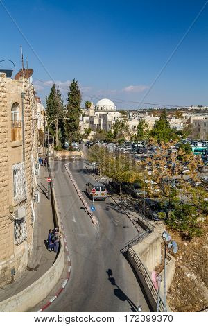 JERUSALEM ISRAEL - DECEMBER 8: Cityscape of Jerusalem view of the Hurva Synagogue from wall of the Old City in Jerusalem Israel on December 8 2016