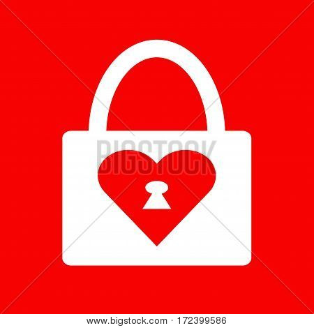 Locked heart icon. Vector on red illustration.