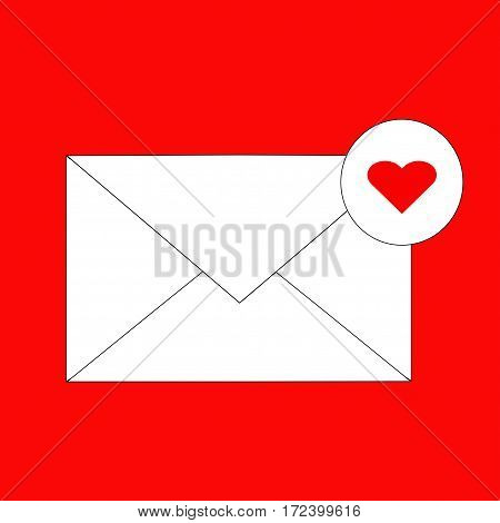 Love mail notification icon. Vector on red background.
