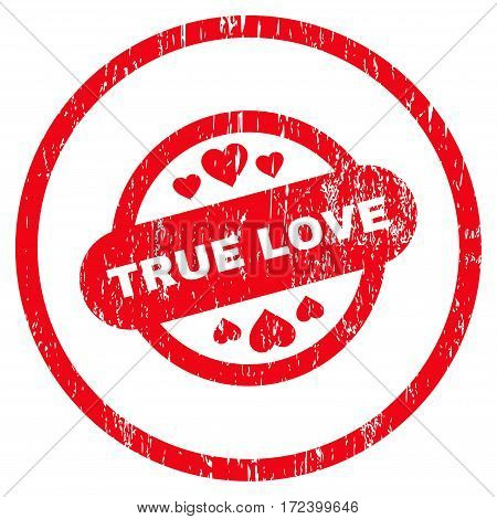 True Love Stamp Seal grainy textured icon for overlay watermark stamps. Rounded flat vector symbol with unclean texture. Circled red ink rubber seal stamp with grunge design on a white background.