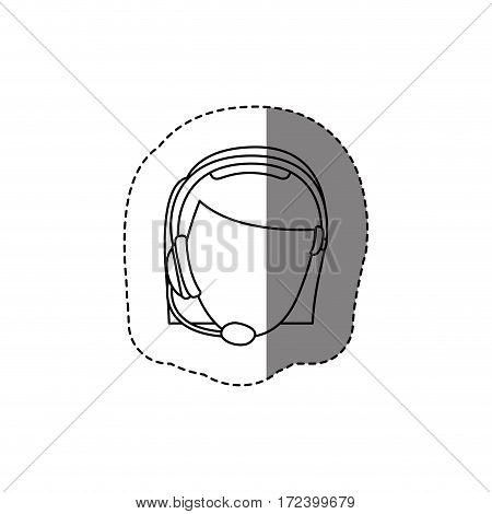 monochrome contour sticker with head of female customer service without face vector illustration