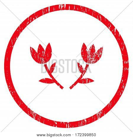 Tulip Flowers grainy textured icon for overlay watermark stamps. Rounded flat vector symbol with scratched texture. Circled red ink rubber seal stamp with grunge design on a white background.