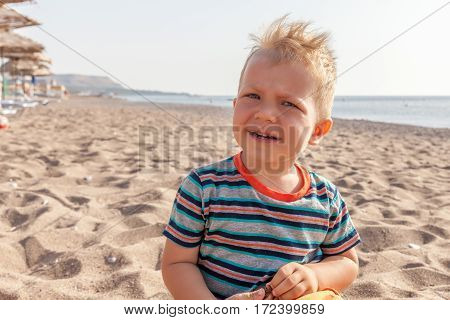 portrait of a caucasian toddler baby boy