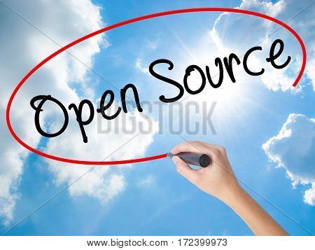 Woman Hand Writing Open Source With Black Marker On Visual Screen