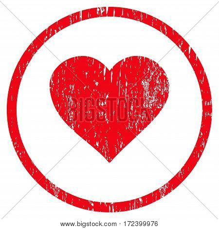 Valentine Heart grainy textured icon for overlay watermark stamps. Rounded flat vector symbol with unclean texture. Circled red ink rubber seal stamp with grunge design on a white background.