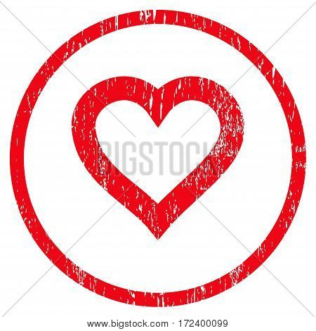 Valentine Heart grainy textured icon for overlay watermark stamps. Rounded flat vector symbol with dust texture. Circled red ink rubber seal stamp with grunge design on a white background.