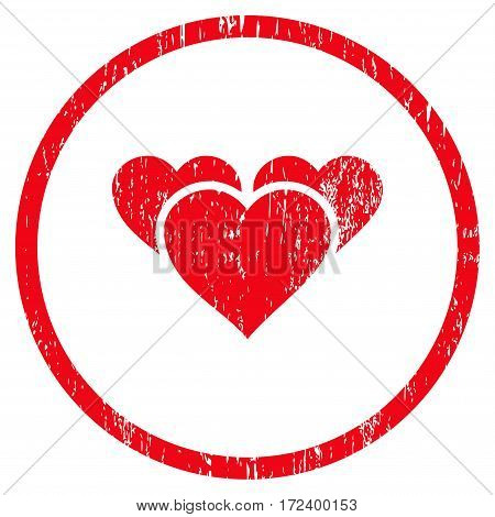 Valentine Hearts grainy textured icon for overlay watermark stamps. Rounded flat vector symbol with scratched texture. Circled red ink rubber seal stamp with grunge design on a white background.