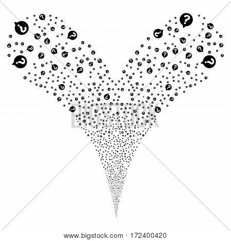 Help Balloon fireworks stream. Vector illustration style is flat black iconic symbols on a white background. Object double fountain done from random design elements.