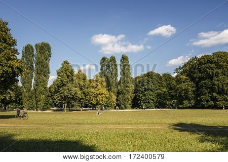 The Englischer Garten (English Garden) is a large public park in the centre of Munich stretching from the city centre to the northeastern city limits