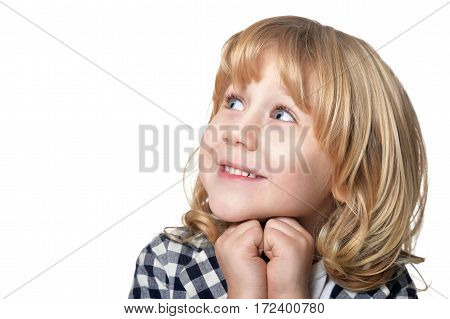 portrait of a little boy, close up against white