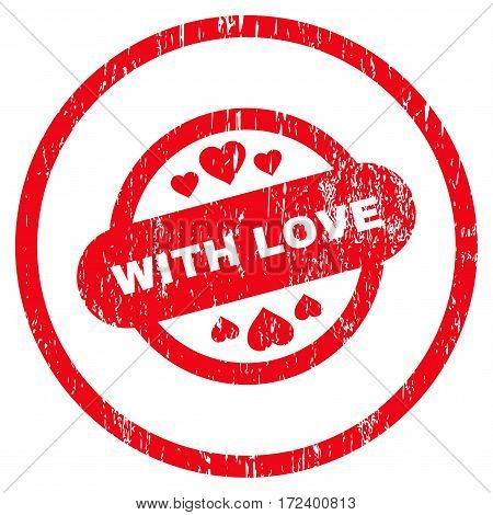 With Love Stamp Seal grainy textured icon for overlay watermark stamps. Rounded flat vector symbol with unclean texture. Circled red ink rubber seal stamp with grunge design on a white background.