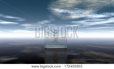 glass cube with letter i under cloudy sky - 3d illustration