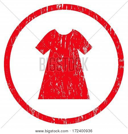 Woman Dress grainy textured icon for overlay watermark stamps. Rounded flat vector symbol with dust texture. Circled red ink rubber seal stamp with grunge design on a white background.