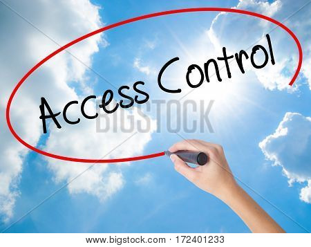 Woman Hand Writing Access Control With Black Marker On Visual Screen