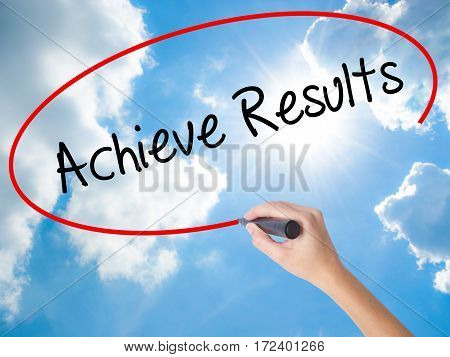 Woman Hand Writing  Achieve Results With Black Marker On Visual Screen.