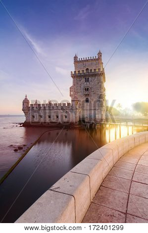 Belem Tower on the Tagus River in sunset. Lisbon, Portugal.