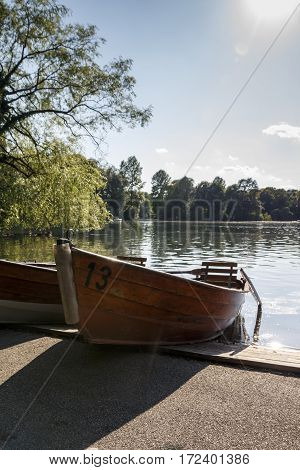The Englischer Garten (English Garden) is a large public park in the centre of Munich and boats are available for rental