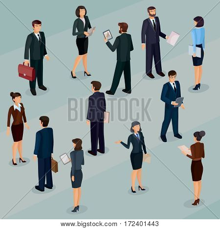 Set of vector isometric men and women in business suits, isolated business people figures