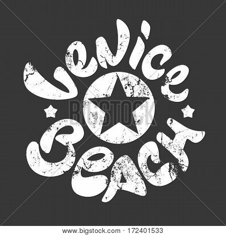 Venice Beach t-shirt print white vector illustration