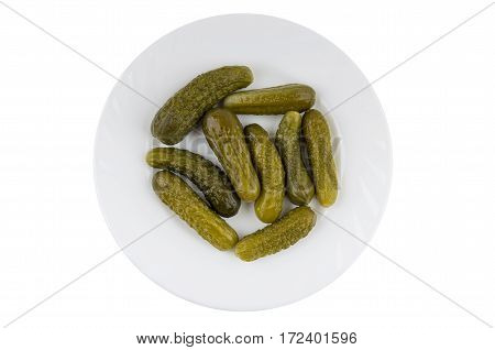 Glass Plate With Gherkins Isolated On White Background
