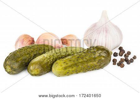 Heap Of Pickled Gherkins, Garlic And Black Pepper