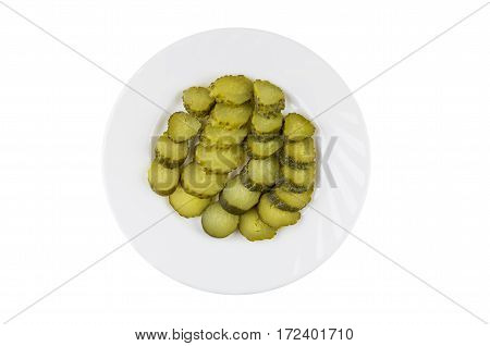 Slices Of Pickled Gherkins In White Plate Isolated On White