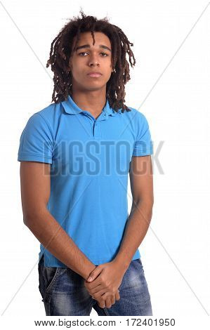 Portrait of mixed race teenage boy isolated on white background