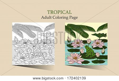 Adult antistress coloring page with water lily alm leaves and the Frog. Cards with lotus leaves. Can be used for Invitation to the wedding or background.