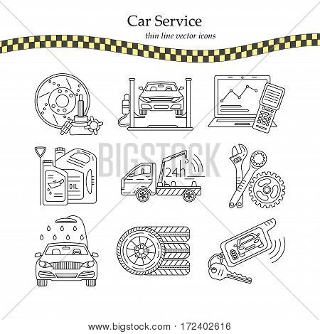 Vector thin line pictogram symbols of car service - tire service, car wash, tow truck, etc.