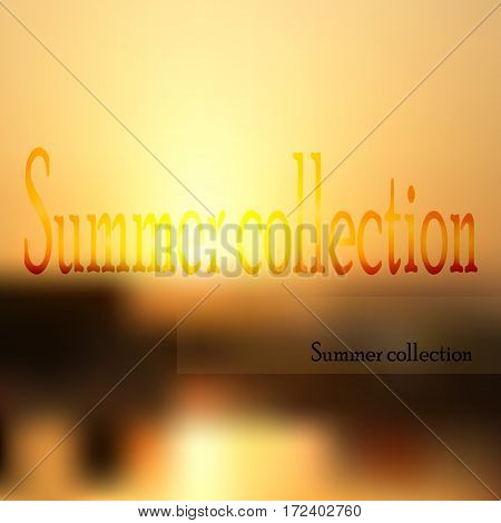 Summer collection card on the gold dithered background.Vector ilustration.