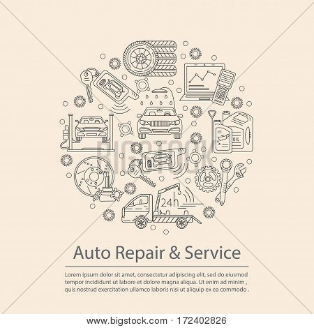 Vector card with symbols of car service - tire service, car wash, tow truck, etc. It will be useful for flyers, banners, discount cards and web.