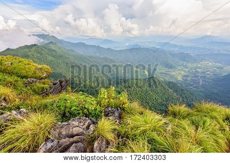 Beautiful landscape nature high mountain forest and sky of the Phi Pan Nam Range during winter from viewpoint Phu Chi Fa Forest Park in Chiang Rai Province Thailand